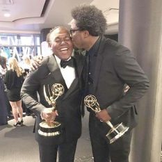 "W. Kamau Bell with ""United Shades of America"" executive producer, Donny Jackson"